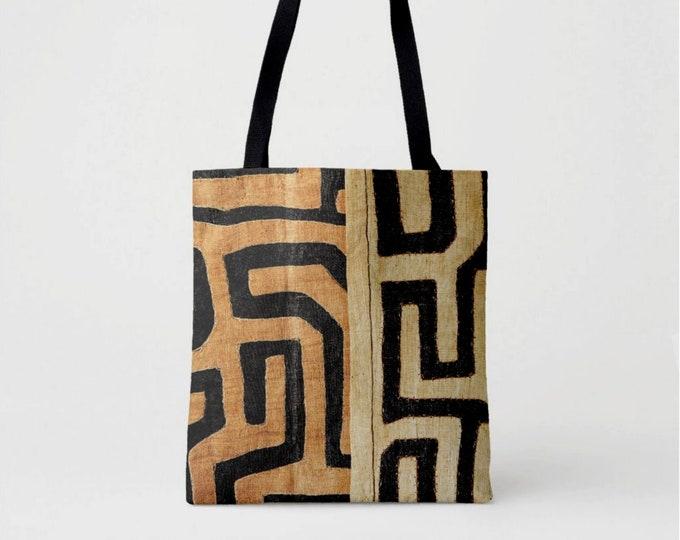 Kuba Cloth Printed Market Tote, Black, Brown & Beige African Boho Shoulder Bag, Tribal Geometric/Geo Print/Pattern