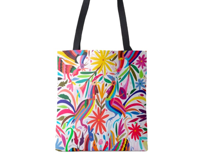 Colorful Otomi Print Market Tote, Multi Colored Print Bag, Mexican Folk Art Pattern, Floral/Flowers/Fun/Boho/Bohemian Print