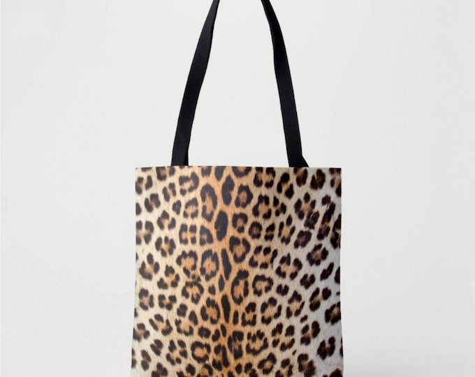 Leopard Print Market Tote, Black and Camel Boho Animal Print Bag, Printed Cat Spotted/Ocelot Pattern, Brown/Tan