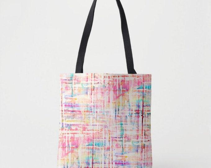 Watercolor Tweed Market Tote, Colorful Print Shoulder Bag, Multi Colored Pink, Aqua Blue/Purple/Orange Stripes/Lines/Geo/Geometric Painted