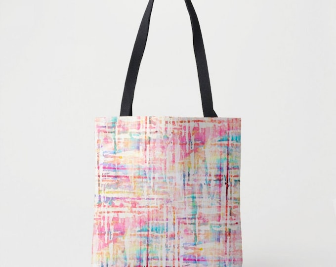 Watercolor Tweed Market Tote, Colorful Print Shoulder Bag, Multi Colored Pink, Aqua Blue/Purple/Orange Stripes/Lines/Geo/Geometric Painted