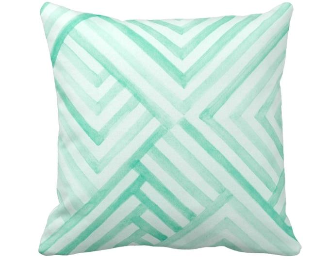 "Watercolor Geo Throw Pillow or Cover, 14, 16, 18, 20, 26"" Sq Pillows or Covers, Mint Blue/Green Geometric/Tribal/Batik/Geo/Boho Print"