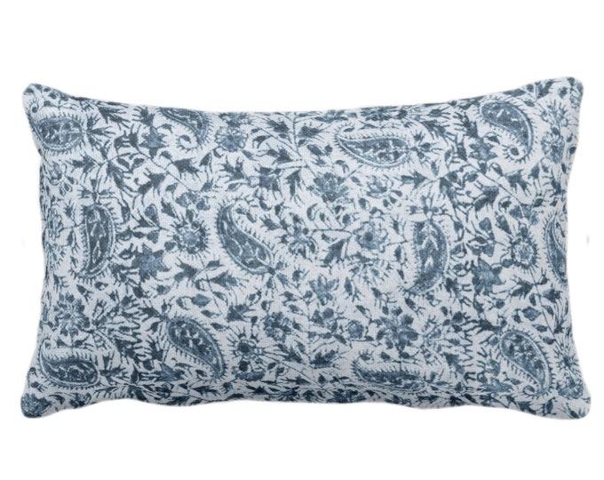 "Worn Paisley Throw Pillow/Cover, Surf Blue 14 x 20"" Lumbar Pillows/Covers, Dark Ocean/Navy Vintage/Boho/Natural/Subtle Tribal Print/Pattern"