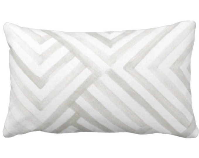 """Subtle Geometric Throw Pillow or Cover, Gray/White 14 x 20"""" Lumbar Pillows or Covers, Watercolor/Geo/Stripes/Lines Print/Pattern"""