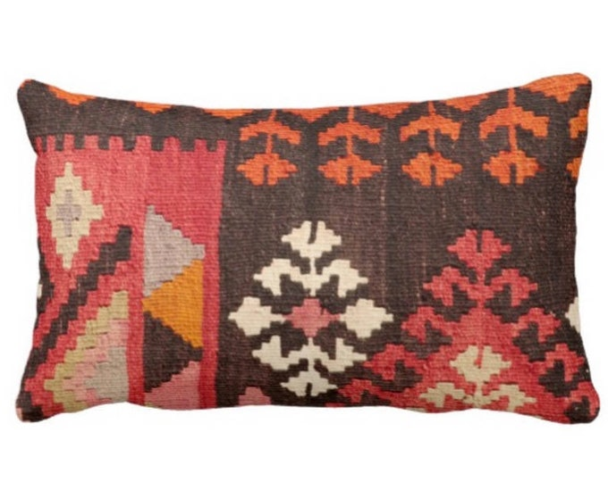 "Turkish Rug PRINTED Throw Pillow or Cover, Boho/Ethnic 14 x 20"" Lumbar Pillows/Covers, Red/Orange/Pink Geometric/Tribal/Geo Print"