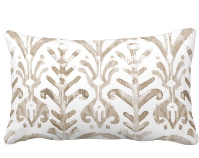 """Watercolor Throw Pillow or Cover, Bark & White 14 x 20"""" Lumbar Pillows/Covers, Ikat/Tribal/Boho Print/Pattern, Taupe/Beige/Tan"""