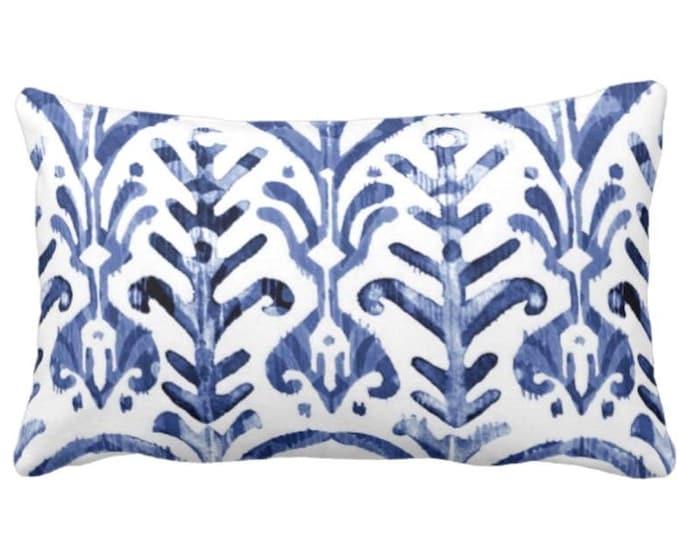 """OUTDOOR Watercolor Print Throw Pillow or Cover, Navy/White 14 x 20"""" Lumbar Pillows/Covers, Indigo/Blue/Deep, Abstract Tribal/Boho"""