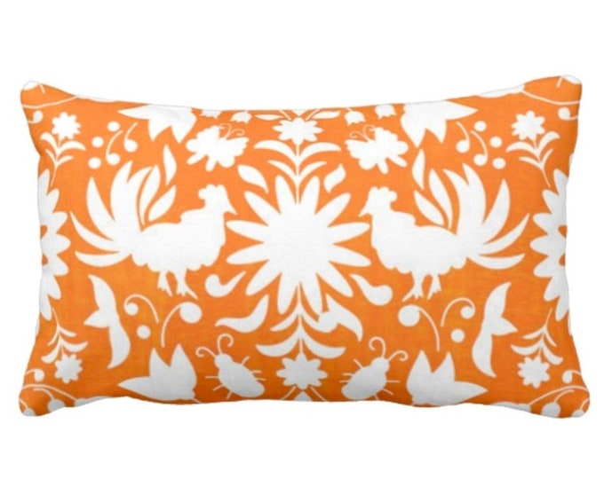 "Otomi Throw Pillow or Cover, Orange/White 14 x 20"" Lumbar Pillows or Covers, Mexican/Boho/Floral/Animals/Nature Print/Pattern"