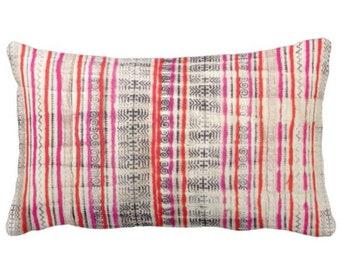 "Thai Batik PRINTED Throw Pillow or Cover, Off-White, Dark Indigo, Pink/Orange 14 x 20"" Lumbar Pillows or Covers, Vintage Maio/Hmong Textile"