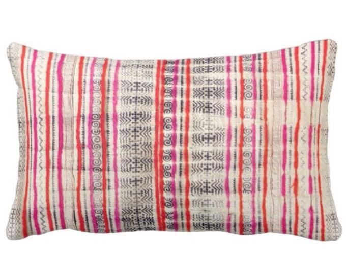 """Thai Batik Print Throw Pillow or Cover, Off-White, Dark Indigo, Pink & Orange 14 x 20"""" Lumbar Pillows or Covers, Vintage Textile"""