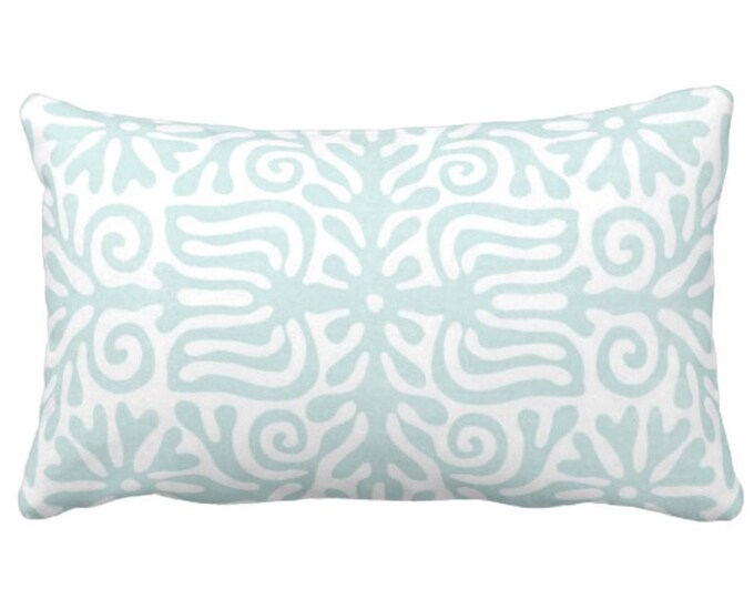 "Folk Floral Throw Pillow or Cover, Jade/White 14 x 20"" Lumbar Pillows or Covers, Pastel Blue/Green, Mexican/Boho/Bohemian/Tribal"