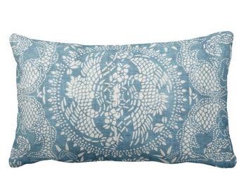 "Dragon Batik PRINTED Throw Pillow or Cover, Indigo 14 x 20"" Lumbar Pillows or Covers, Blue Vintage Chinese Miao/Hmong Tribal Print"