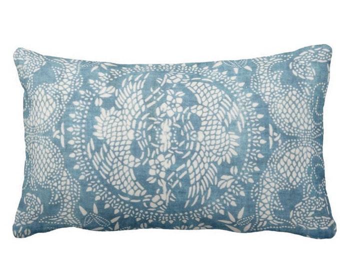 "Dragon Batik Printed Throw Pillow or Cover, Indigo 14 x 20"" Lumbar Pillows or Covers, Blue Vintage Chinese Miao Tribal Print"