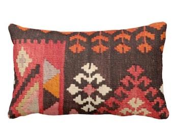 "OUTDOOR Turkish Rug Print Throw Pillow or Cover, Boho/Ethnic Geometric 4 x 20"" Lumbar Pillows/Covers, Red/Orange/Pink Geometric/Tribal/Geo"