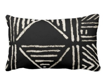 """OUTDOOR Mud Cloth Printed Throw Pillow or Cover, Black/Off-White 14 x 20"""" Lumbar Pillows/Covers, Mudcloth/Boho/Tribal/Geometric/Geo"""