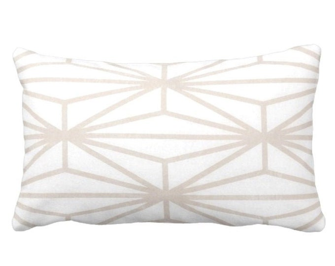 """OUTDOOR Modern Geo Throw Pillow or Cover, Sand/White Print 14 x 20"""" Lumbar Pillows/Cover, Taupe/Beige Lines/Japanese/Geometric/Stripe"""
