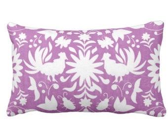 "Folk Floral Throw Pillow or Cover, Purple/White 14 x 20"" Lumbar Pillows or Covers, Bright Mexican/Boho/Bohemian/Tribal/Flower"
