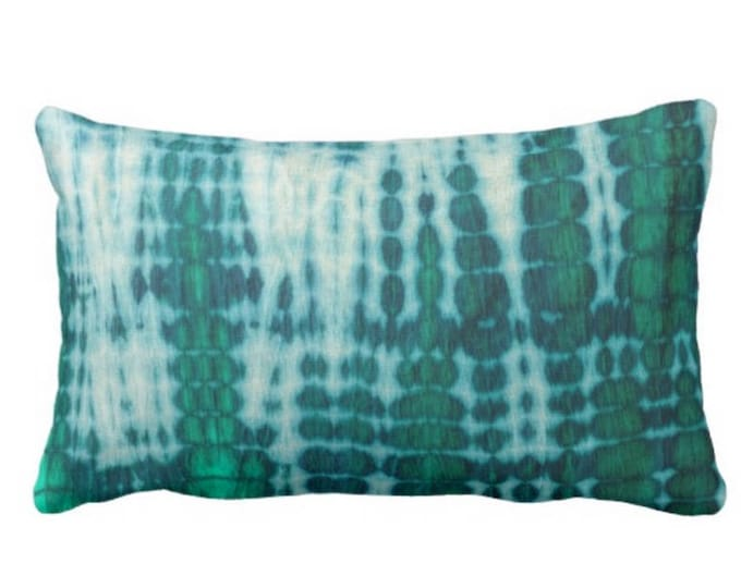 """Acid Teal & Emerald Throw Pillow or Cover 14 x 20"""" Lumbar Pillows or Covers Shibori/Mud Cloth/Dyed Bright/Colorful Boho/Jungalo"""