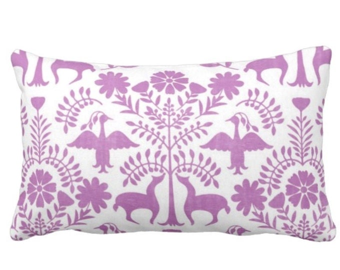 """Otomi Throw Pillow or Cover, Purple/White 14 x 20"""" Lumbar Pillows or Covers, Bright Mexican/Boho/Floral/Flower/Fun Print/Pattern"""