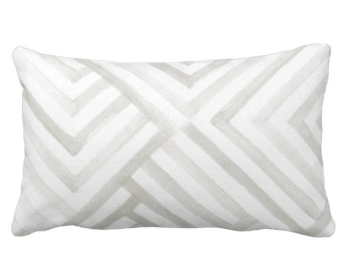 """OUTDOOR Subtle Geometric Throw Pillow or Cover, Gray/White 14 x 20"""" Lumbar Pillows/Covers, Watercolor/Geo/Stripes/Lines Print/Pattern"""