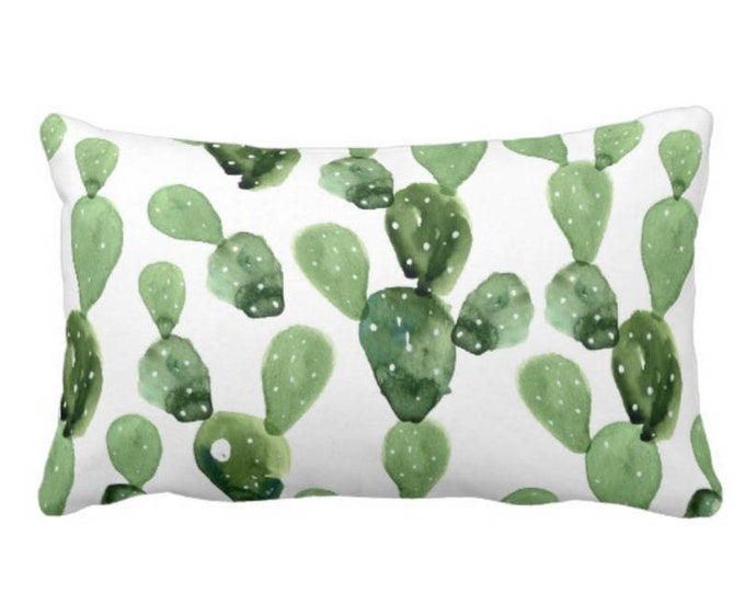 """OUTDOOR Watercolor Cactus Throw Pillow or Cover, Green & White 14 x 20"""" Lumbar Pillows/Covers, Succulent/Southwest/Succulents, Olive/Sage"""