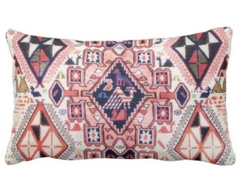 "Tribal Geo w/ Birds PRINTED Throw Pillow or Cover, Pink/Blue Pillows or Covers 14 x 20"" Lumbar Red Geometric/Boho/Carpet/Rug Print/Pattern"