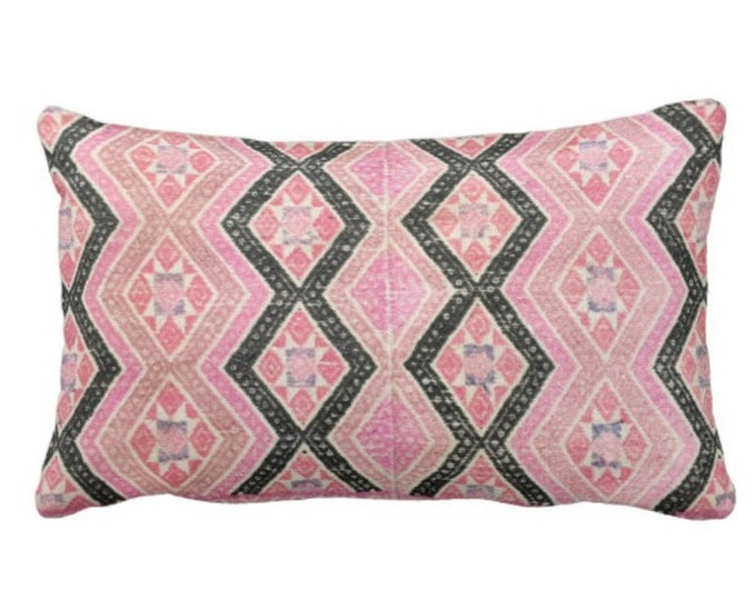"""Chinese Wedding Blanket PRINTED Throw Pillow or Cover, Pink & Black 14 x 20"""" Lumbar Pillows or Covers, Vintage Embroidery Print"""