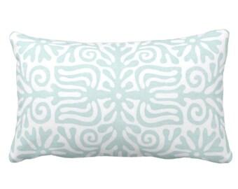 "OUTDOOR Folk Floral Throw Pillow or Cover, Jade/White 14 x 20"" Lumbar Pillows/Covers, Pastel Blue/Green, Mexican/Boho/Bohemian/Tribal"