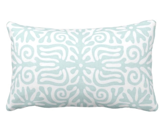 "OUTDOOR Folk Floral Throw Pillow or Cover, Jade/White 14 x 20"" Lumbar Pillows/Covers, Pastel Blue/Green, Mexican/Boho/Bohemian/Tribal"