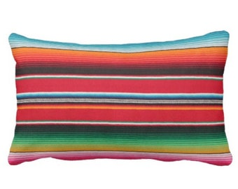 "Printed Serape Stripe Throw Pillow or Cover, Blanket Print 14 x 20"" Lumbar Pillows or Covers, Multi Colored Rainbow/Colorful/Stripes/Striped"