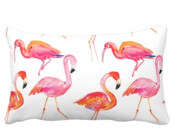 "OUTDOOR Colorful Flamingos Print Pillow or Cover, Orange/Pink 14 x 20"" Lumbar Pillows or Covers, Coral Tropical Watercolor Bright/Modern"
