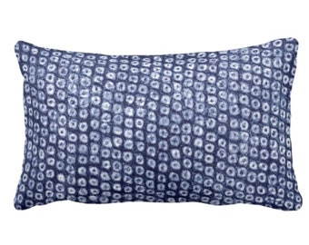 "OUTDOOR Batik Print Indigo Throw Pillow or Cover, 14 x 20"" Lumbar Pillows/Covers, Dots/Circles/Abstract/Boho/Tribal Design, Navy"