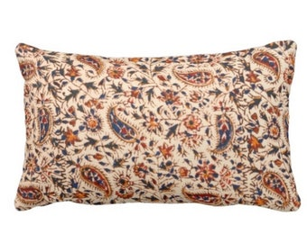 """Retro Paisley Throw Pillow or Cover, Natural, Navy, Red & Orange 14 x 20"""" Lumbar Pillows or Covers, Vintage 70s Textile Print"""