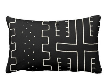 "OUTDOOR Mud Cloth Print Throw Pillow or Cover, Black & Off-White 14 x 20"" Lumbar Pillows/Covers, Mudcloth/Boho/Tribal/Geometric/Geo/Lines"