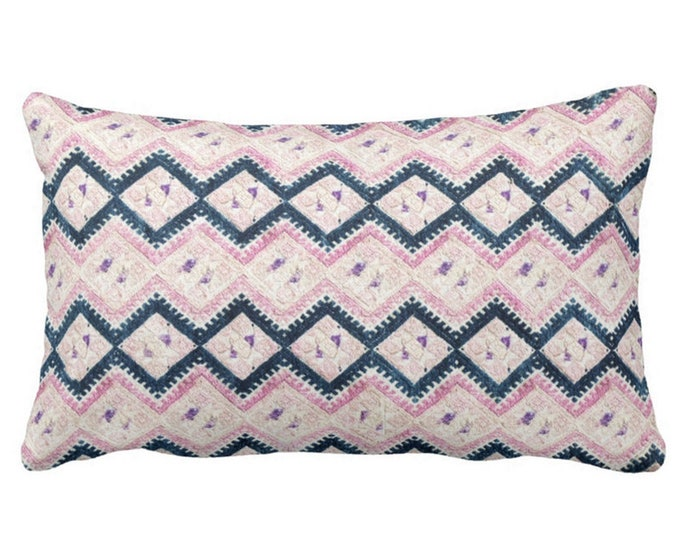 """Chinese Wedding Blanket Printed Throw Pillow or Cover, Navy & Light Pink 14 x 20"""" Lumbar Pillows or Covers, Vintage Embroidery Print"""