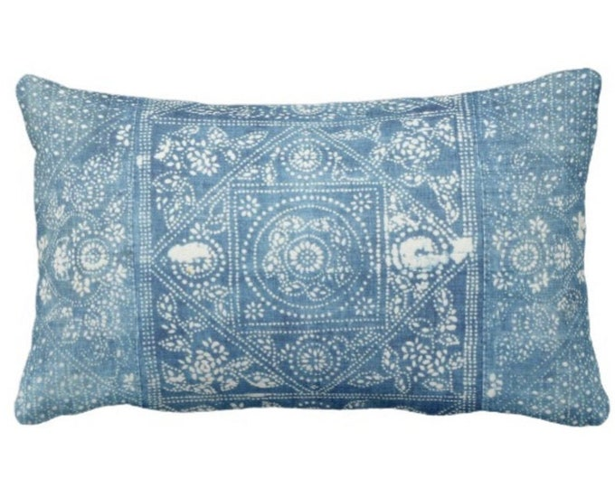 """Batik Printed Throw Pillow or Cover, Indigo 14 x 20"""" Lumbar Pillows or Covers, Blue Vintage Chinese Miao Tribe/Tribal Print"""