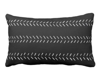 """Mud Cloth Arrows Print Throw Pillow or Cover, Black/Off-White 14 x 20"""" Lumbar Pillows or Covers, Mudcloth/Tribal/Geometric/Lines"""