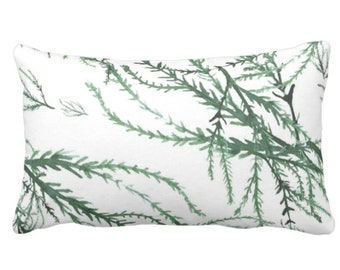 "Watercolor Branches Throw Pillow or Cover, Kale/White Print 14 x 20"" Lumbar Pillows or Covers, Green Leaves/Botanical/Floral Pattern"