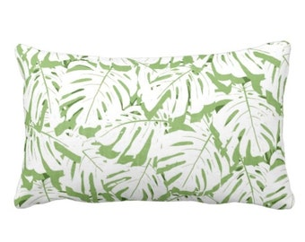 """OUTDOOR Palm Print Throw Pillow or Cover, Cactus Green/White 14 x 20"""" Lumbar Pillows/Covers, Olive/Lime Tropical Leaf/Leaves Pattern"""