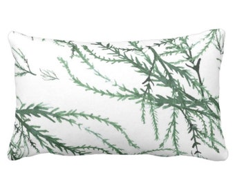 "OUTDOOR/READY 2 SHIP Watercolor Branches Throw Pillow Cover, Kale/White Print 14 x 20"" Lumbar Covers, Green Leaves/Botanical/Floral Pattern"