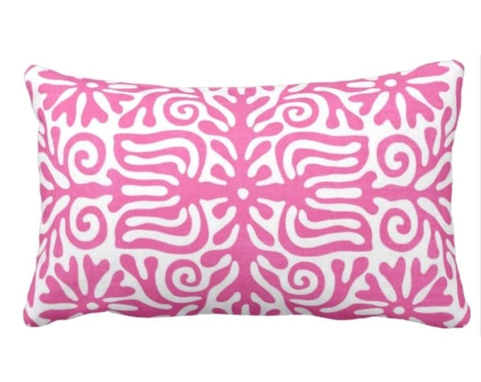 "Folk Floral Throw Pillow or Cover, Bright Pink/White 14 x 20"" Lumbar Pillows or Covers, Mexican/Boho/Bohemian/Tribal Print/Pattern"