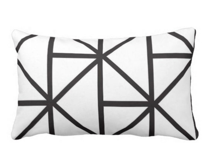 "OUTDOOR Geometric Lumbar Throw Pillow or Cover, 14 x 20"" Modern Black & White Print Pillows or Covers, Geo Lines/Stripes/Lattice/Diamonds"