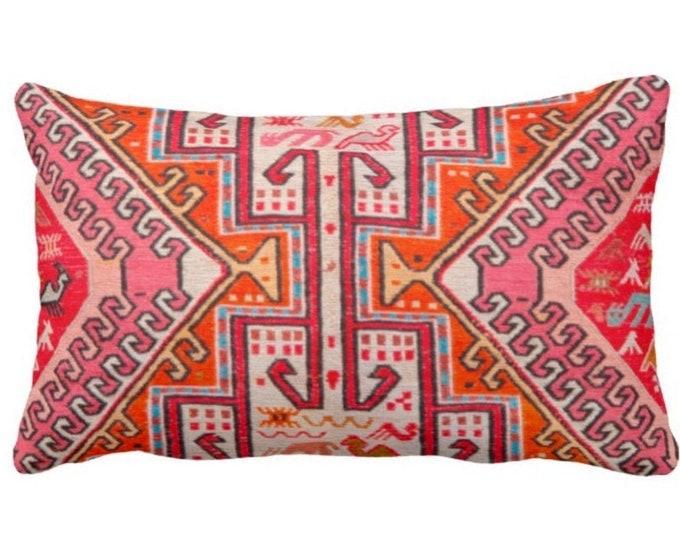 "Colorful Kilim PRINTED Throw Pillow or Cover, Boho Rug Print 14 x 20"" Lumbar Pillows or Covers, Pink/Orange/Red Tribal Geometric/Geo"