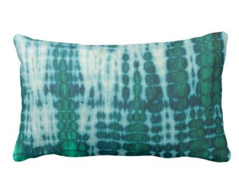 "OUTDOOR Acid Teal & Emerald Throw Pillow or Cover 14 x 20"" Lumbar Pillows or Covers Shibori/Mud Cloth/Dyed Bright/Colorful Boho/Jungalo"