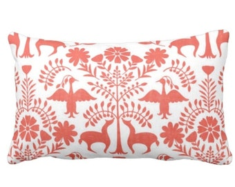 """Otomi Throw Pillow or Cover, Coral/White 14 x 20"""" Lumbar Pillows or Covers, Mexican/Boho/Floral/Animals/Nature Print/Pattern"""