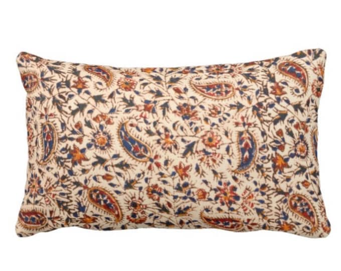 """OUTDOOR Retro Paisley Throw Pillow or Cover, Natural, Navy, Red & Orange 14 x 20"""" Lumbar Pillows or Covers, Vintage 70s Textile Print"""