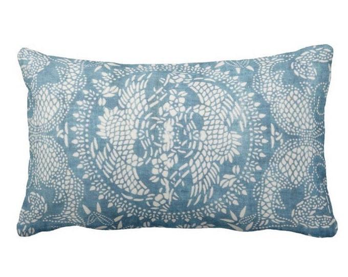 "OUTDOOR Dragon Batik Printed Throw Pillow or Cover, Indigo 14 x 20"" Lumbar Pillows or Covers, Blue Vintage Chinese Miao Tribal Print"