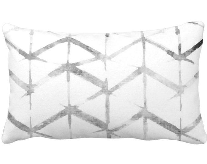 "Shadow Chevron Throw Pillow or Cover, Gray/White 14 x 20"" Lumbar Pillows or Covers, Geometric/Modern/Geo/Lines/Zig-Zag Print"