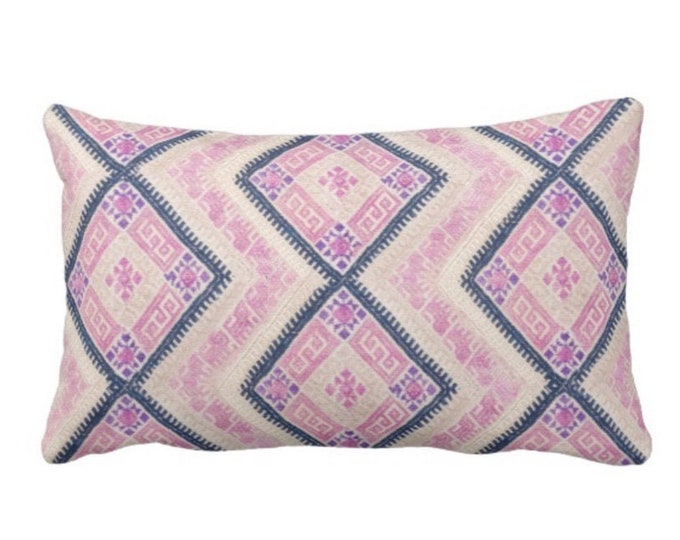 """Chinese Wedding Blanket Printed Throw Pillow or Cover, Pink/Blue 14 x 20"""" Lumbar Pillows or Covers, Vintage Embroidery Print"""