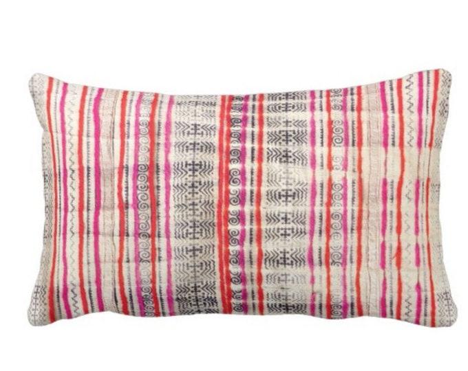 "OUTDOOR Thai Batik PRINTED Throw Pillow or Cover, Off-White, Dark Indigo, Pink & Orange 14 x 20"" Lumbar Pillow or Covers, Vintage Textile"